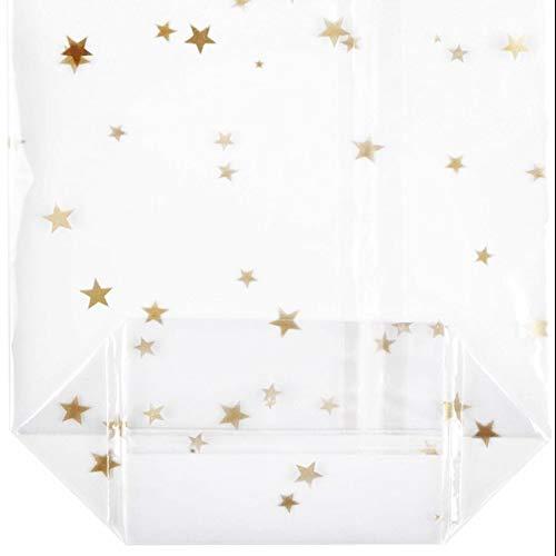 100 Bodenbeutel Sterne Gold 145 x 235 mm PP Beutel Weihnachten Weihnachtsbeutel Keksbeutel Kekstüten Gebäcktüten Gebäckbeutel Klarsichtbeutel Folienbeutel Tüten
