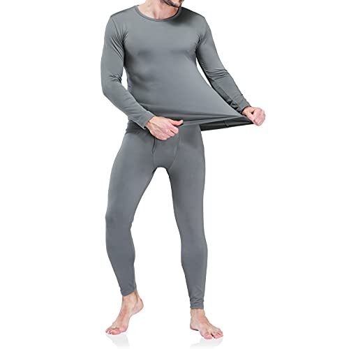 Men's Thermal Underwear Long Johns Set with Fleece Lined Light Gray