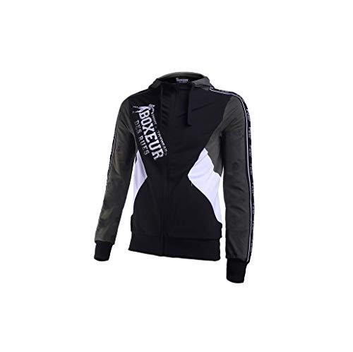 BOXEUR DES RUES Serie Fight Activewear, Felpa Full Zip Uomo, Verde Militare, XL