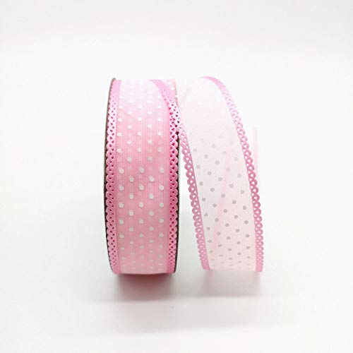 """WQDWF Ribbons 5 Yards 15 Yards 1"""" 25mm Ribbon Wedding Party Decoration Organza Ribbon Printing Dots Gift Wrapping Hair Bows DIY Christmas Ribbon,Pink"""