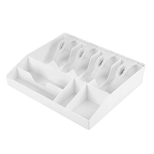 Cajón de efectivo, plástico de alta calidad, funciona bien Bandeja de efectivo, para sellos Caja chica Cambio suelto(white)