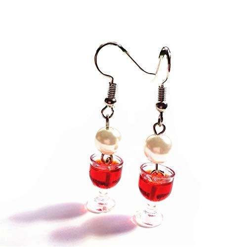 Toporchid Essen Schmuck Glas Wein Ohrringe, Frauen Charme Baumeln Ohrringe Für Party Hochzeit (Rot)