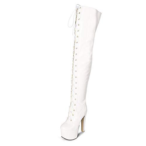 YZT QUEEN Damen Stiefel overknees, sexy Mode Pu-Leder Schnür hochelastische Overknee-Stiefel, hohe Plattform 15 cm hohe Absätze schlanke elastische Stiefel mit hohen Absätzen,Weiß,39EU/6UK