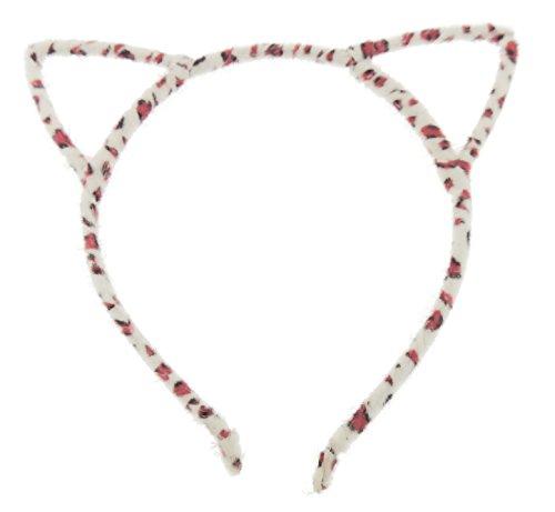 Damen Fuzzy Schablone Katzenohren Deeley Bopper schmales Stirnband Alice Band (Weiß Rosa Leopard)