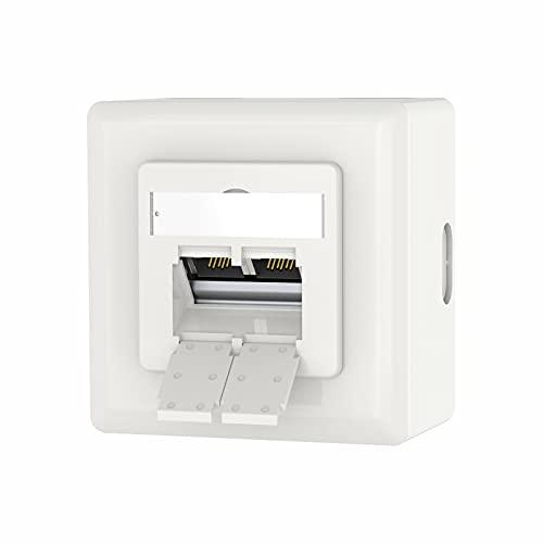 VCELINK Universal Netzwerkdose Cat6A, 2 x RJ45 Port Lan Dose, Datendose Aufputz oder Unterputz - Geschirmt, 10 Gigabit Ethernet Netzwerk RJ45 Dose, EIA/TIA 568A&B, Weiß