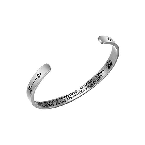 Jeracol Bangle Engraved Straighten Your Crown Inspirational Bracelet Stainless Steel Engraved Cuff Bangle Bracelet Personalized Gift for Mom Daughter Teen Girls.