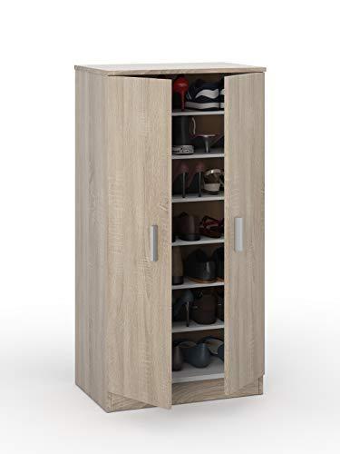 Esidra Armadio scarpiera 2 Ante + 7 Scomparti Legno Rovere, 108 x 55 x 36 cm