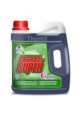 Thomil DEGRASS Super multifunctionele vetoplosser voor oppervlakken, krachtige reiniger voor oven, afzuigkappen, friteuses, filters, oppervlakken en gebruiksvoorwerpen met ingebedd vet. Jerrycan 4 l.