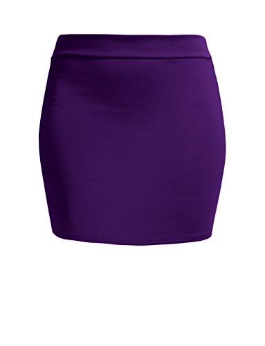 NE PEOPLE Women's Stretch Knit Bodycon Mini Pencil Skirt Made in USA Purple