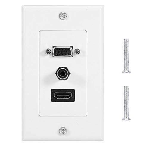 Duokon HDMI + VGA + 3.5 aansluiting rechte wandplaat apparaataansluiting US standaard Inline American Panel wit