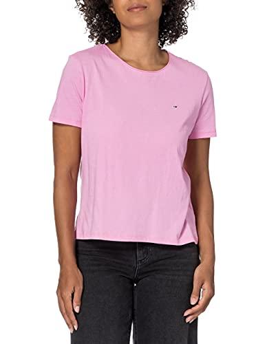 Tommy Hilfiger Tjw Slim Jersey C Neck Camiseta, Rosa (Pink Daisy), XXS para Mujer
