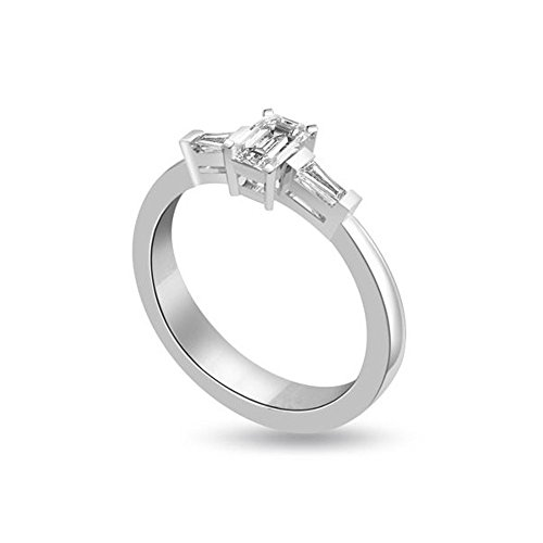 0.60ct H/SI1 Diamante Trilogy Anello da Donna con Smeraldo & Baguette diamanti in 18kt Oro bianco