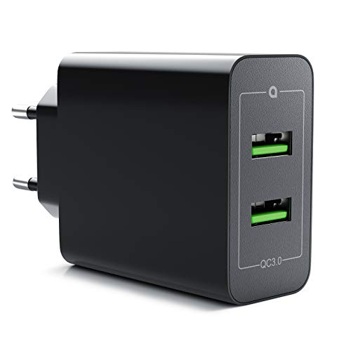 CSL - 36W Ladegerät 2 Port Quick Charge 3.0 - USB Netzteil 6000 mA Insgesamt - Schnellladefunktion - Smart Charge Solid Charge - für iPhone iPad Samsung Galaxy Nexus HTC Motorola LG UVM