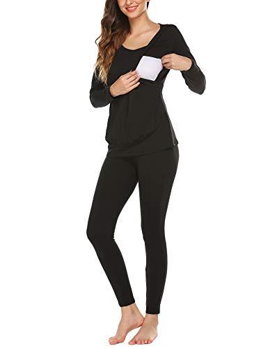 Untlet Damen Nachthemd Umstandspyjama Schwangere Zweiteilige Thermo Unterwäsche Lang Warm Weich Stillschlafanzug mit Stillfunktion S-XXL, Schwarz, L