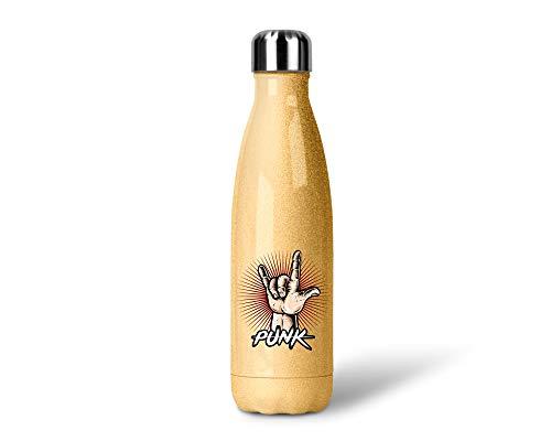 SPIRITSHIRTSHOP Punk | Borraccia termica con glitter in acciaio inox | 500 ml