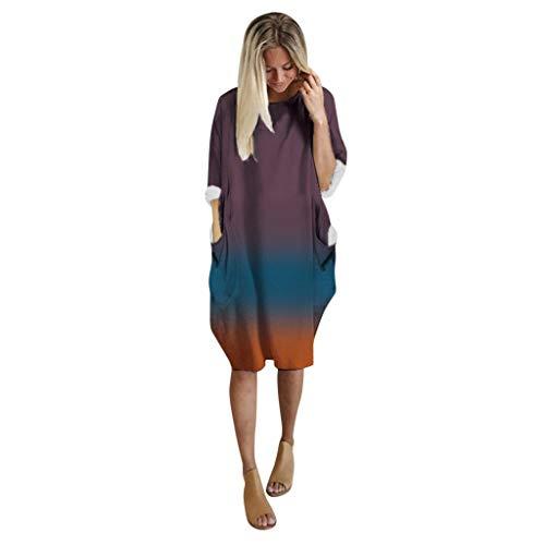 Kviklo Damen Weihnachtskleid Langarm O-Ausschnitt Lange Tops mit Tasche Gr. XX-Large, Lila