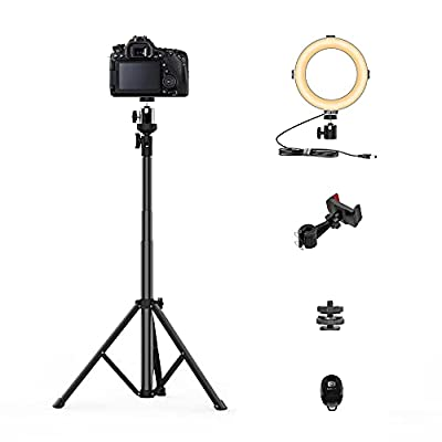 Camera Tripod with Ring Light, 55-Inch Extendable Phone Stand Aluminum Camera Tripod for DSLR Compact Tripod for Travel Professional Tripod with 360 Degree Ball Head Super Remote Shutter Carrying Bag