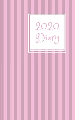 2020 Diary: 5x8  week to a page planner with 12 monthly planners. Lined paper pages after diary for all your notes. Perfect pocket size for general ... students. Pink & lilac vertical stripe design