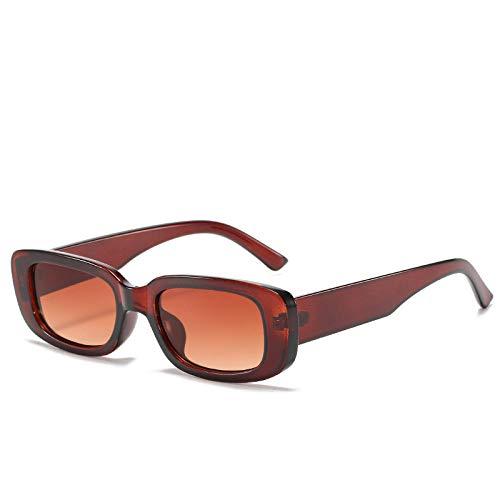 hqpaper Gafas de sol cuadradas con montura de color jalea gafas de sol de moda también gafas de mujer-té oscuro