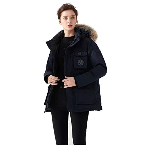 Check Out This Gleamfut Ladies Fashion Pocket Down Jacket Warm Coat Zipper Faux Fur Collar Loose Thi...