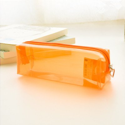 Funnylive Transparent Candy Color PU Pencil Case—Pure Color—Durable & Resistance to Wear (Small Size: Orange)