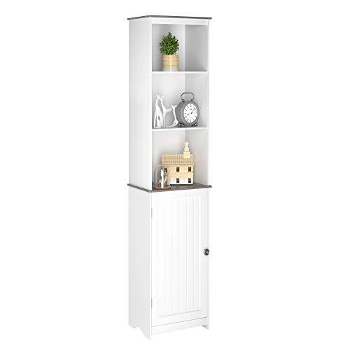 Homfa Hochschrank Badschrank Badezimmerschrank Badregal Kommode Standschrank mit Tür und 3 offenen Fächern Wohnzimmer Küche Holz Weiß 40x30x180cm