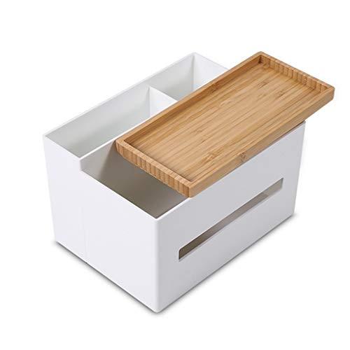 Portalápiz Titular multifuncional Bamboo Pen de plástico, caja del tejido sostenedor de la cubierta, Escritorio Caja de almacenamiento domésticos y de oficina Contenedores (blanco) contenedor de pluma