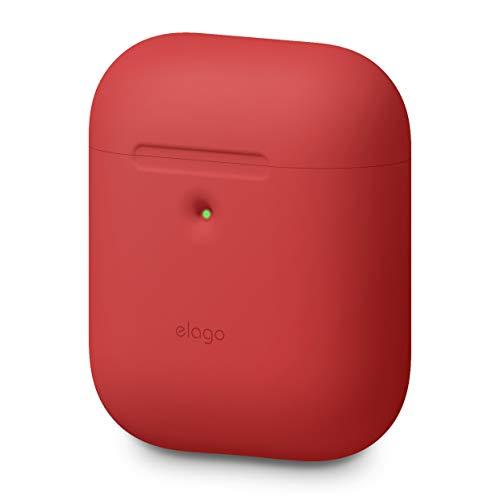 elago A2 Funda de Silicona Compatible con Audífonos Apple AirPods 2 inalámbricos (LED Frontal Visible) - Soporta Carga inalámbrica, Protección Adicional (sin Mosquetón, Rojo)
