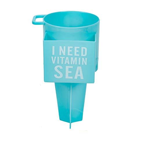 Bubble-Store Strand Becherhalter, Multifunktionsbecher für Getränke, Sonnenbrille, mit extra Handy-Fach und Aufhänger für Schlüssel, Strand-Gadget mit Erdspieß (Türkis-Blau)