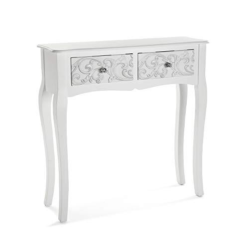 Versa Anjali Mueble Recibidor Estrecho para la Entrada o el Pasillo, Mesa Consola, con 2 cajones, Medidas (Al x L x An) 80 x 25 x 80 cm, Madera, Color Blanco