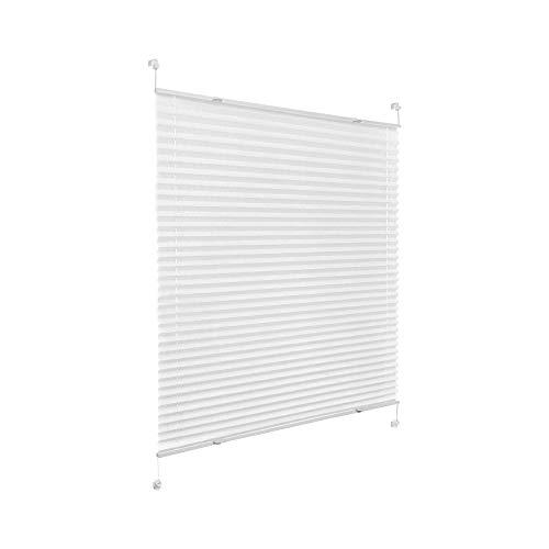 Victoria M. Praktica Plissee ohne Bohren Faltrollo Plisseerollo Rollo Blickdicht für Fenster & Tür, Vlies, 85 x 200 cm, Weiß