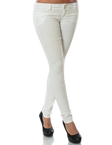 Damen Hose Treggings Skinny Röhre No 14205 Weiß 36 / S, Weiß, S / 36
