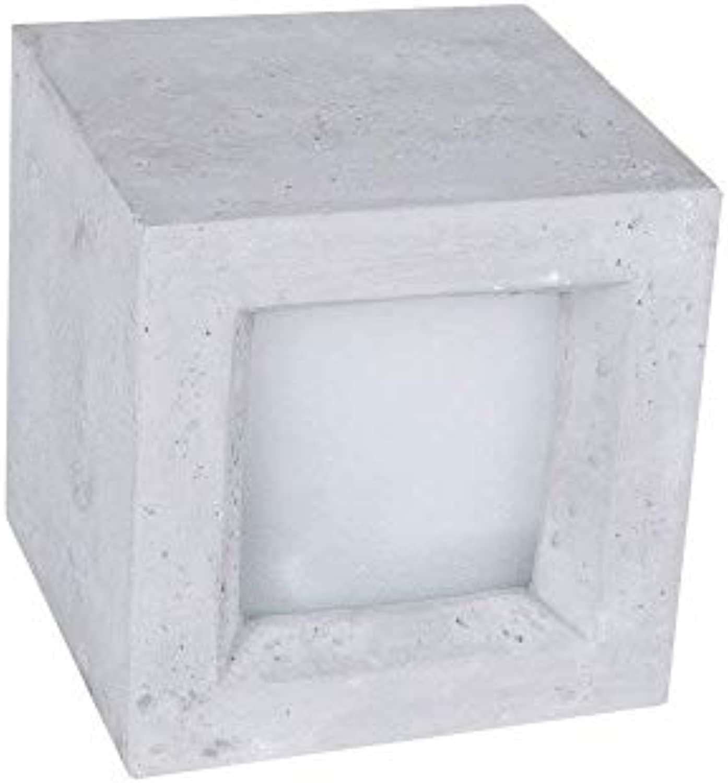 Gipswandleuchte Korytko12  Gipslampe in Beton-Optik hell  Gipsleuchte inklusive 4W LED-Leuchtmittel  Wandleuchte im Cube-Design  Lampe up&down