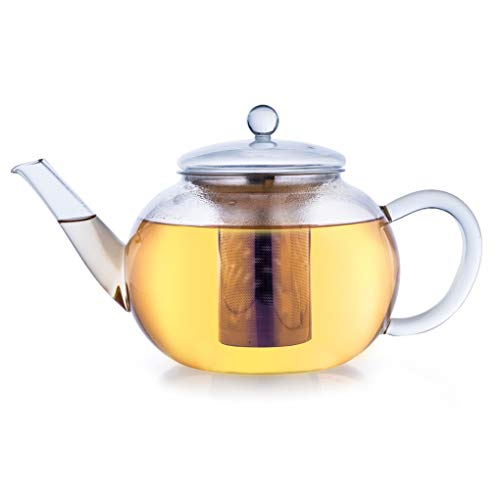 Creano Teekanne aus Glas 1,6l, 3-Teilige Glasteekanne mit Integriertem Edelstahl-Sieb und Glas-Deckel, Ideal zur Zubereitung von Losen Tees, tropffrei, All-in-One