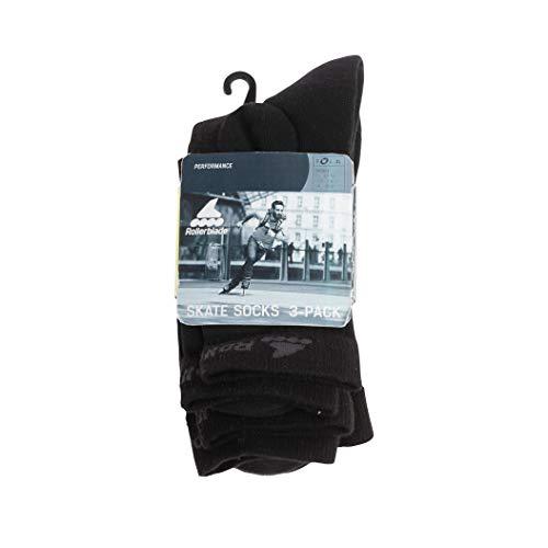 Rollerblade Socken Skate 3er-Pack Unisex Erwachsene, Unisex-Erwachsene, 06A90300 100 M, Schwarz, M