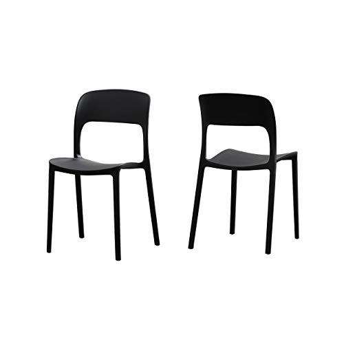 Christopher Knight Home 306516 Dean Outdoor Plastic Chairs (Set of 2), Black