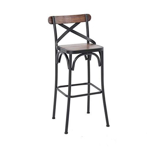 SQQSLZY Taburetes de Barras, taburetes de Barra de Madera Maciza de Hierro Forjado, sillas Altas con respaldos, taburetes de Bar, sillas de Bar, sillas de Caja registradora, heces Altas