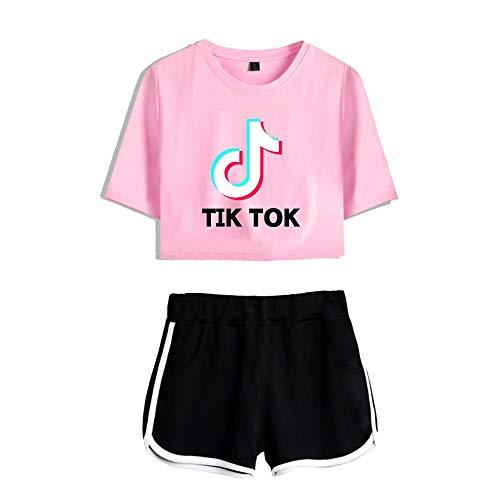 TINGTING TIK Tok Camisetas y Shorts-Tiktok Camisetas y Pantalones Cortos para Adultos y jvenes, Tiktok Camisetas y Pantalones Cortos Ropa Deportiva (Color : Pink1, Size : XS)