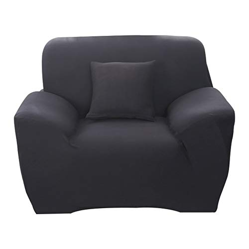 Hotniu 1-Stück Elastisch Sofaüberwurf Sesselbezug, Sofaüberzug Polyester, Sofahusse Sesselhusse Stretch, Sofabezug für Sofa, Couch, Sessel zum Schutz, mehrere Farben (1 Sitzer 90-130cm, Schwarz)