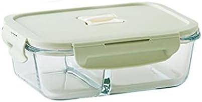 Fiambrera Caja de mantenimiento fresca de vidrio dividido para la familia, dos compartimentos, con tapas de bloqueo de sellos