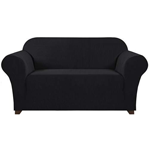 Stretch Sofa Slipcover 1 Piece Sofa Cover for 2 Cushion Couch Furniture Protector/Cover Couch with Elastic Bottom Soft and Durable Sofa Cover Pet Protector (Loveseat, Black)