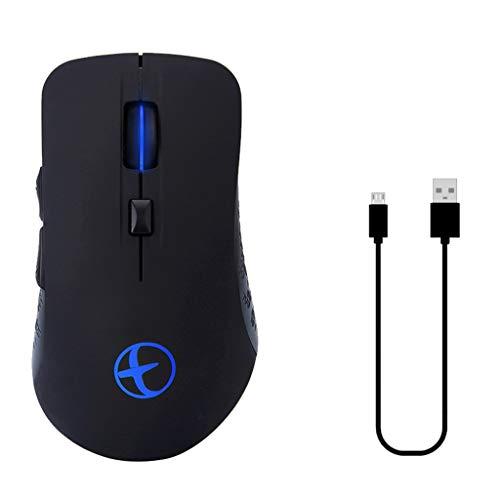 Njuyd - Ratón USB recargable con Bluetooth, modo dual, 2,4 GHz, inalámbrico y Bluetooth para ordenador portátil, computadora de escritorio, PC y tableta