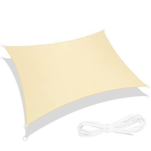 RATEL Toldo Vela de Sombra Rectángulo Arena 3 × 4 m, protección 95% UV y Transpirable Impermeable, para Jardín, Patio, Exteriores, Pergola Decking