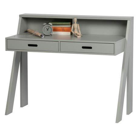 Alfred & Compagnie - Escritorio (38 x 111, 2 cajones, EINAR, pino macizo, gris hormigón)
