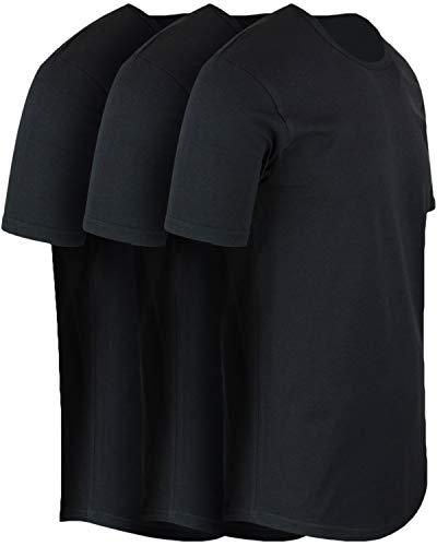 ShirtBANC Mens Hipster Hip Hop Long Drop Tail T Shirts (Black 3 Pack, XL)
