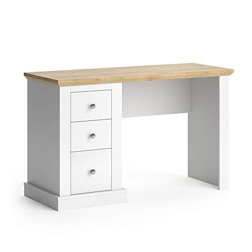 Vicco Schreibtisch Cambridge 3 Schubladen Computertisch PC-Tisch Bürotisch Tisch (Weiß-Eiche)