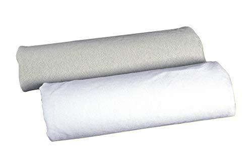 2x Spannbetttuch Spannbettlaken Wiege 40x80, Beistellbett, Jersey Baumwolle, hergestellt in Europa, Doppelpack Weiß und Grau