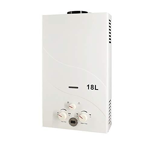 RBAYSALE Gas Durchlauferhitzer 18L LPG Propangas-Warmwasserbereiter Edelstahl Instant Boiler Warmwasserspeicher