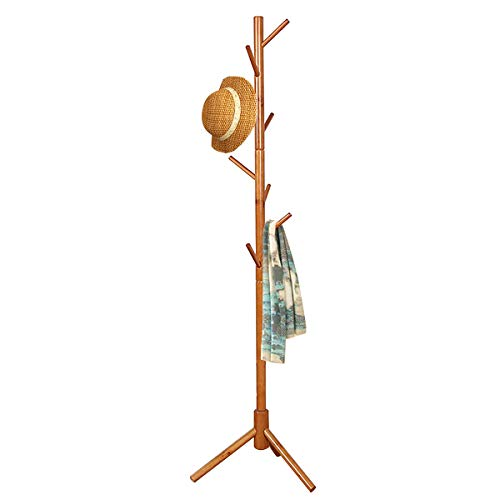 FADDA Free Standing Coat Rack Wood Tree Coat Rack with 8 Hooks Sweater hat and Bag Tree Hanger Bracket