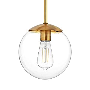 """MOTINI Globe Pendant Light, 1-Light Gold Brushed Brass Pendant Lighting with 8"""" Clear Glass Shade, Single Ceiling Hanging Light Fixture for Kitchen Island, Dining Room"""